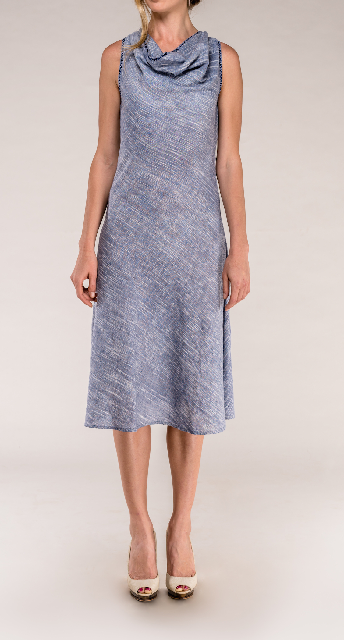 bias cowl sleeveless dress
