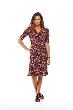 3/4 slv bias cowl dress