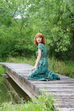 ruffle dress + 4 panel maxi skirt