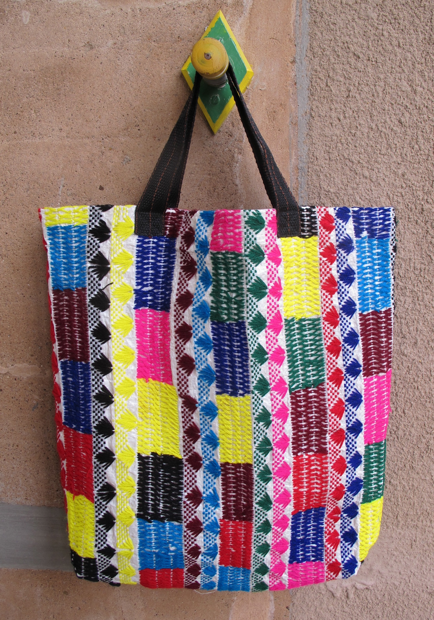 hand embroidered recycled tote