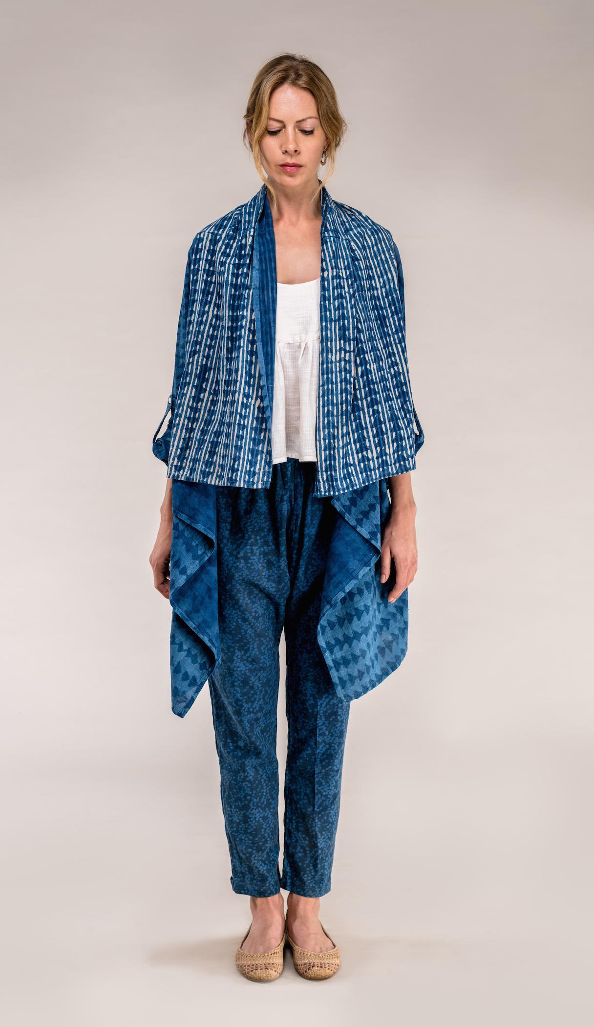 drape coat+choli tank + bowie pant