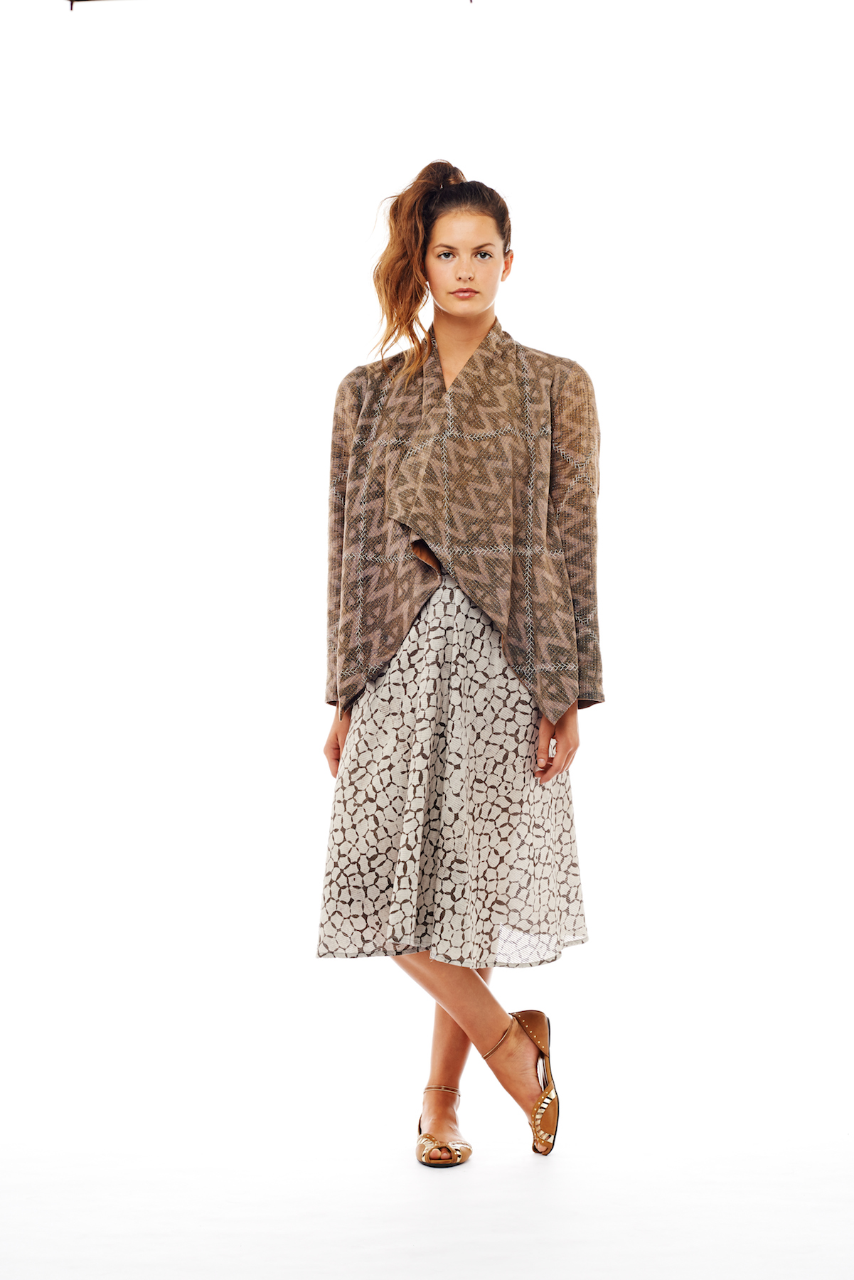 kantha drape jacket + anjuna dress