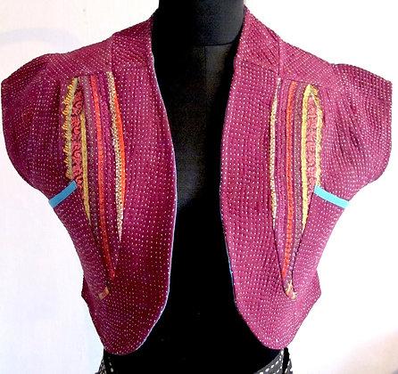 bolero crop reverse vest with pockets #33
