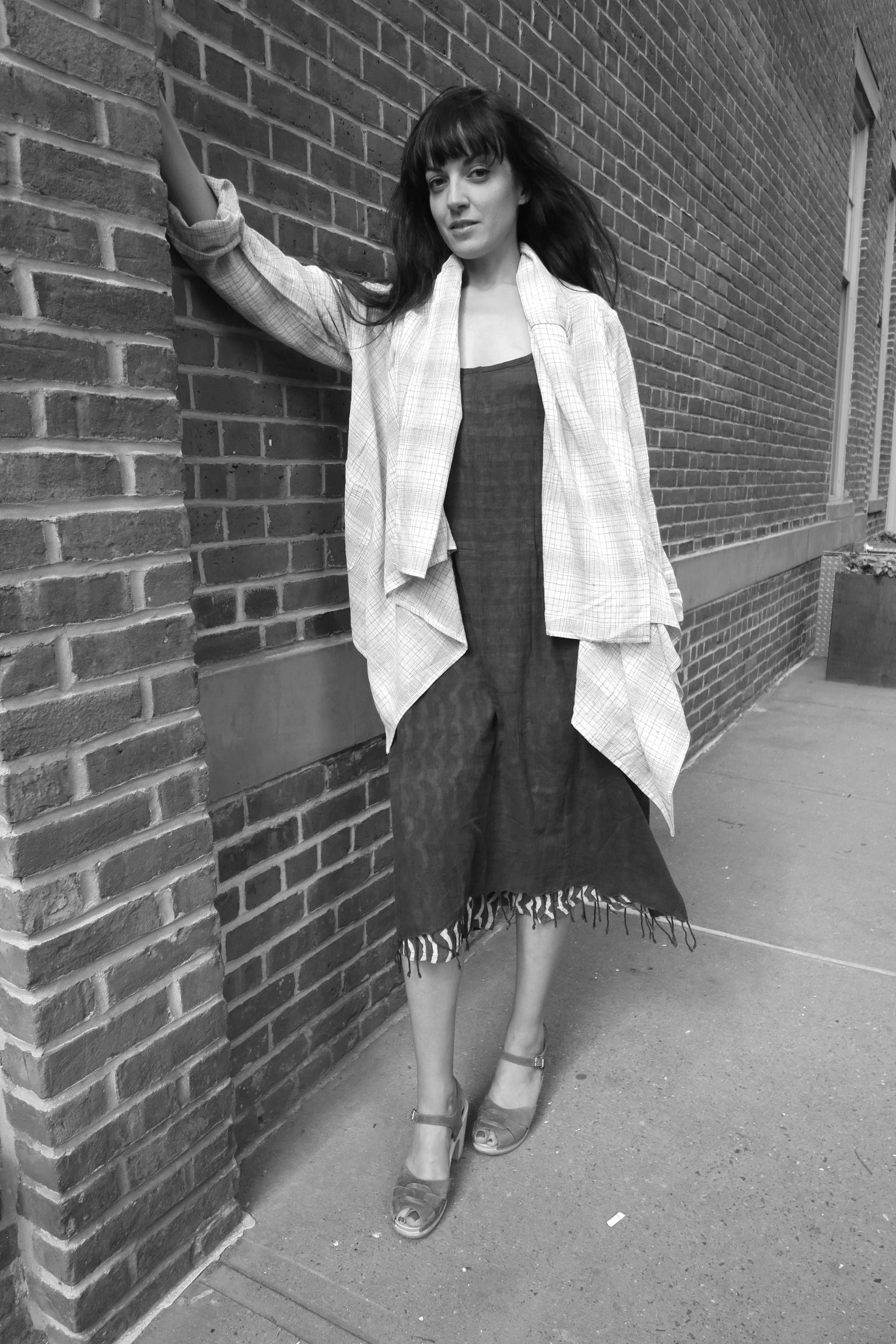 drape jacket + shiftdress + croppant
