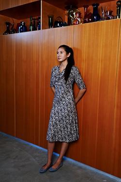 bias cowl dress 3/4 sleeve