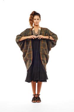 cocoon coat + tier dress + mala neck