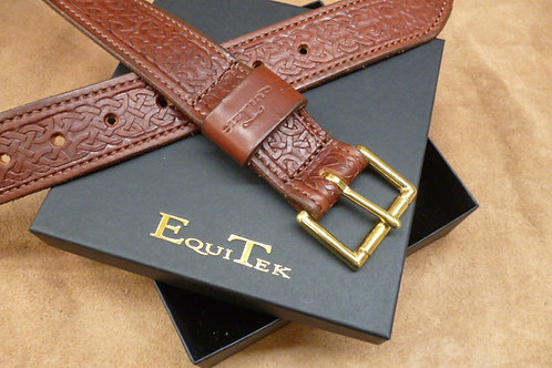 Dark Tan Brown Celtic Real Leather Belt By Equitek