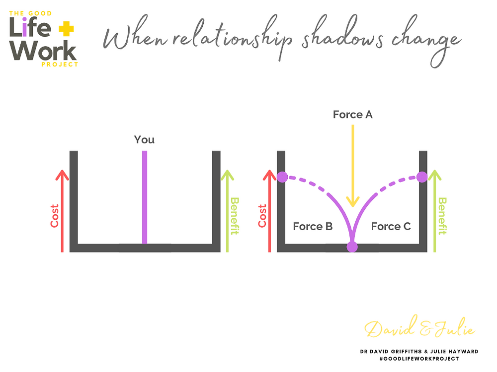 Relationship shadows AND forces that change relationship shadows