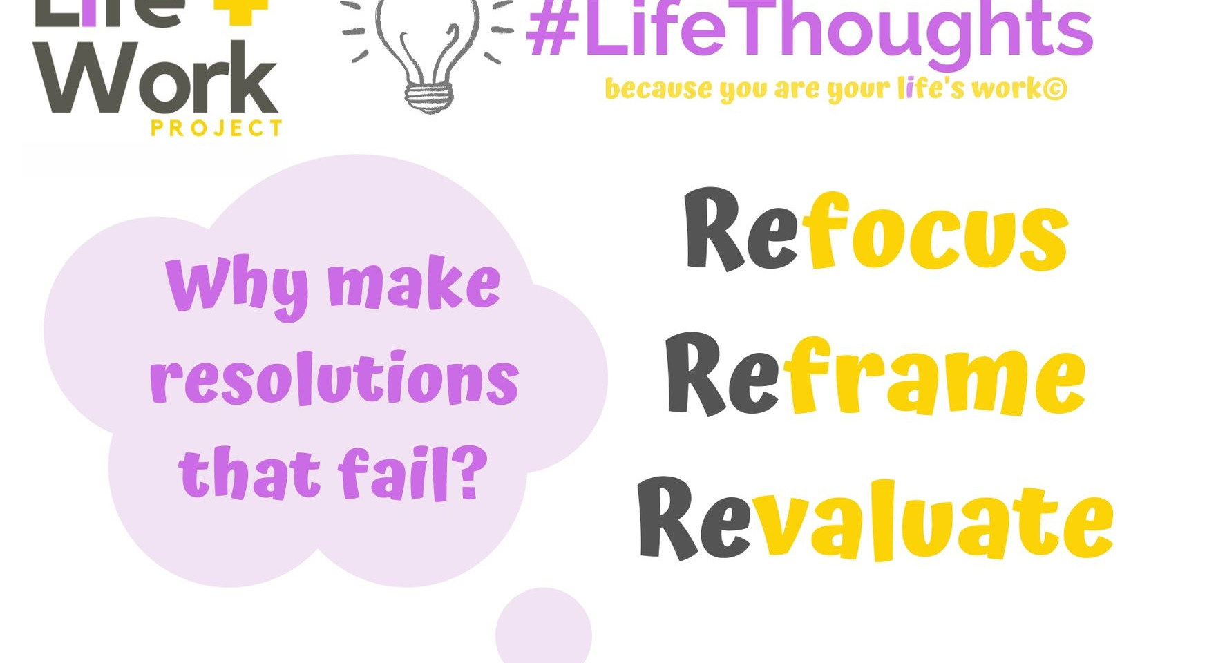 Have you tried to refocus, reframe and revaluate?