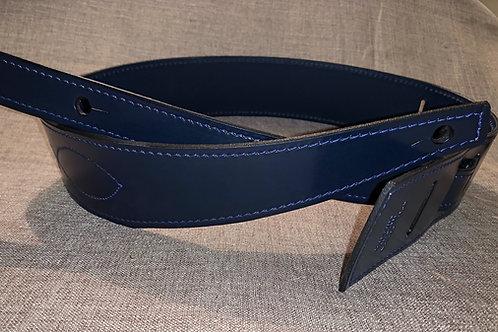 Blue Bridle Leather Guitar Strap