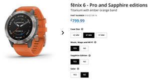 Garmin Fenix 6 Options