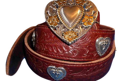 Heart Belt Heart Buckle With Conchos