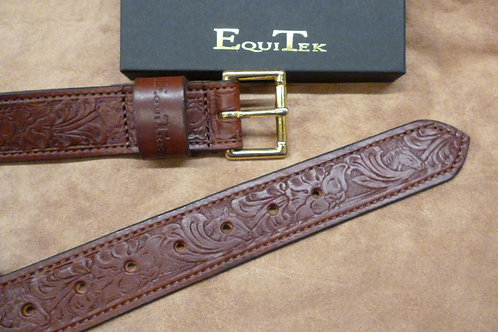 Dark Tan Brown Horse Scene Real Leather Belt By Equitek