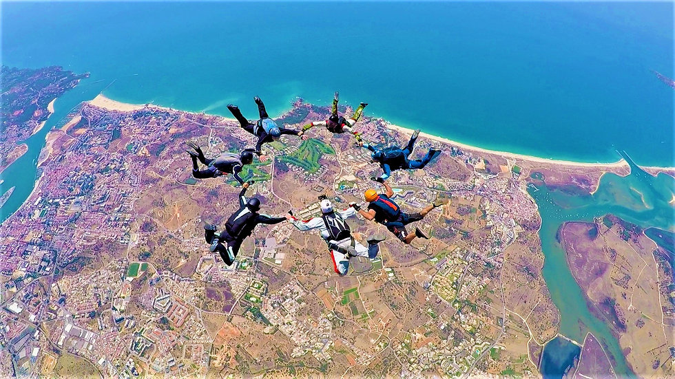 Skydive 7W formation over Algarve – Learn Formation Skydiving – Get FS1 sticker – Get USPA A license - The Skydiving Therapist