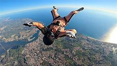 Skydiver Flying Back-fly over Algarve – Backfly Jump in Algarve - Learn Skydive freeflying in Algarve – The Skydiving Therapist – Skydive Freefly Coach in Portugal – Skydive Coach in the Algarve – Back-flying – FF1 Sticker