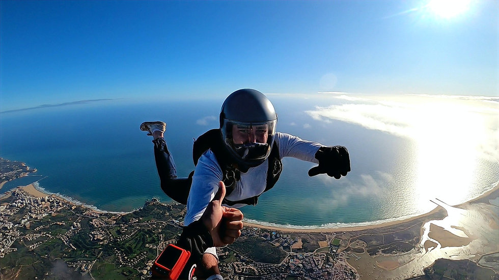 Learn to Skydive – Skydiver jumping over Alvor - Learn to Skydive in Portugal – FS1 Sticker – USPA A License – Skydive in Algarve - The Skydiving Therapist