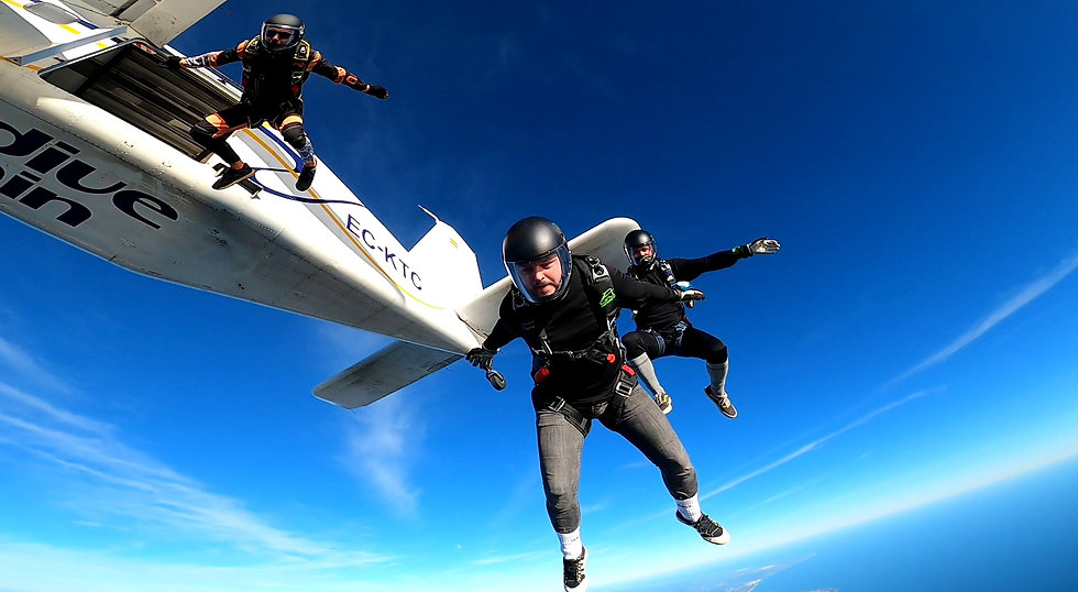 Skydivers Performing a Tracking Jump exit over Algarve - Angle Jump in Algarve - Learn Skydive Tracking in Algarve – The Skydiving Therapist – Skydive Tracking Coach in Portugal – Skydive Coach in the Algarve – Belly Tracking – TR1 Sticker