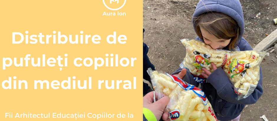 Distribuire de pufuleți pentru copii din mediul rural