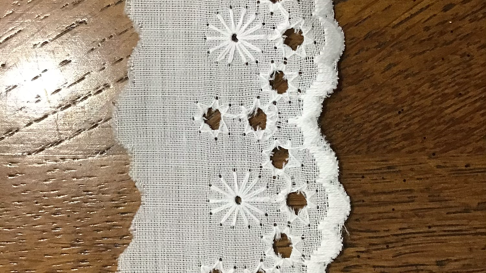 Narrow Broderie Anglaise Cotton Lace - Ivory