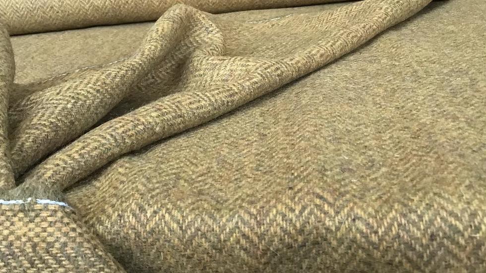 Remnant  Olive & Honey Herringbone Tweed Wool /125cm
