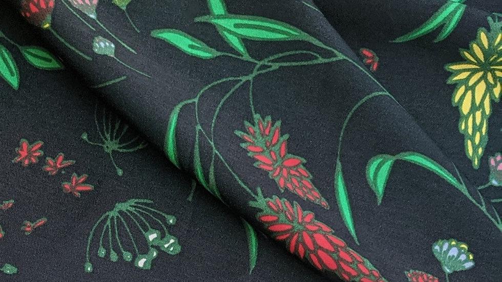 Multi Floral on Black Background