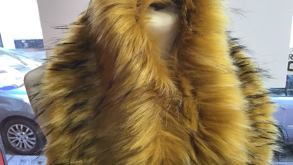 Mustard Yellow with Black Tips Faux Fur Piece