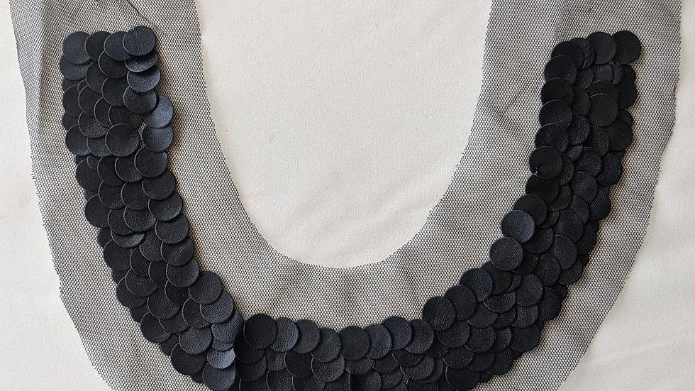 Black Faux Leather Appliqué Collar