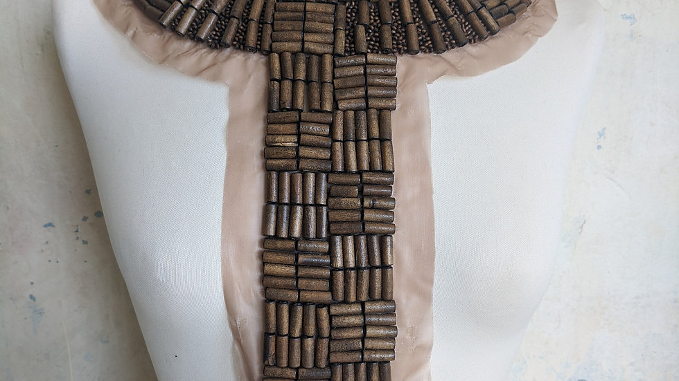 Dark Wooden Bead Neckline