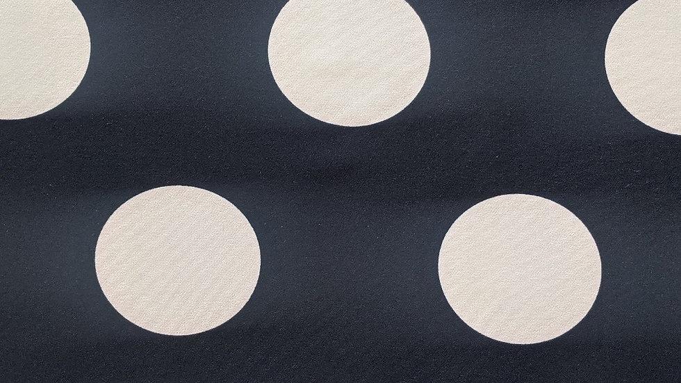 Large Ivory Spot Matte Black Jersey Knit