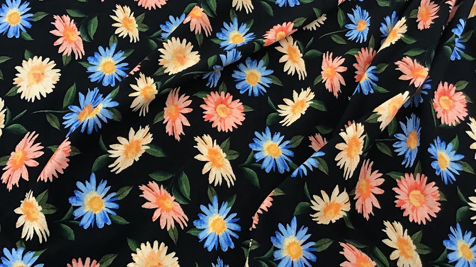 Remnant Floral Jersey in Peaches & Blues  / 100cm