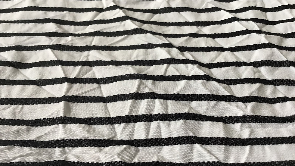 Pure White Crinkle Cotton with Black Stripe