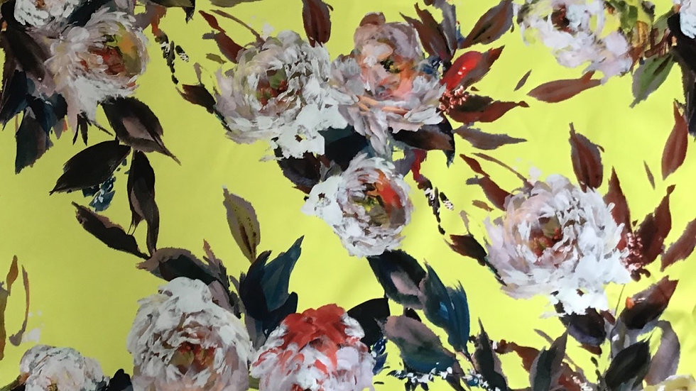 Remnant Large Floral on Yellow PVC / 200cm