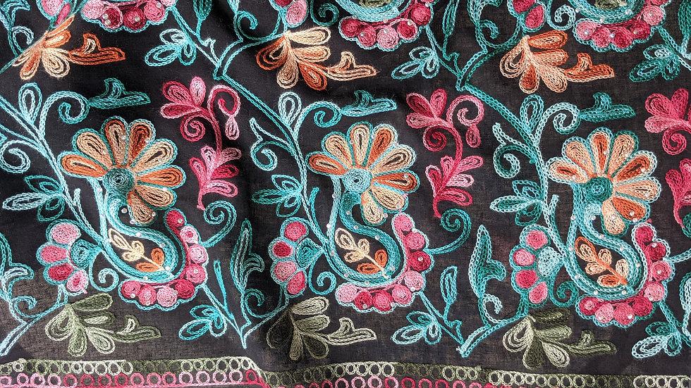 Paisley Embroidery Black Semi Sheer