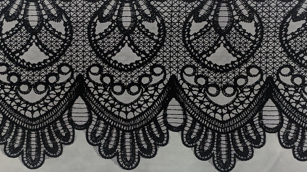 Demi Black Embroidered Victorian Style Lace Trim