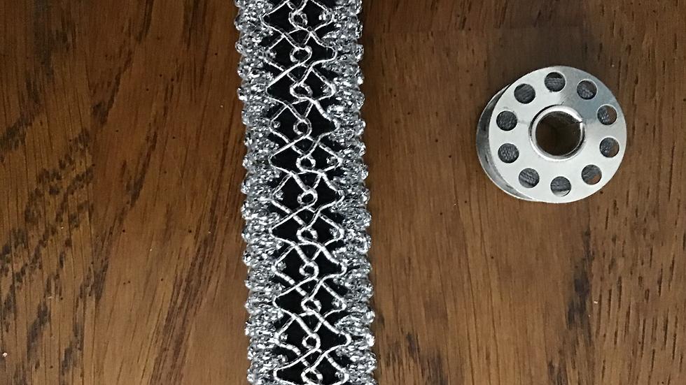 Silver & Black Lurex Braid