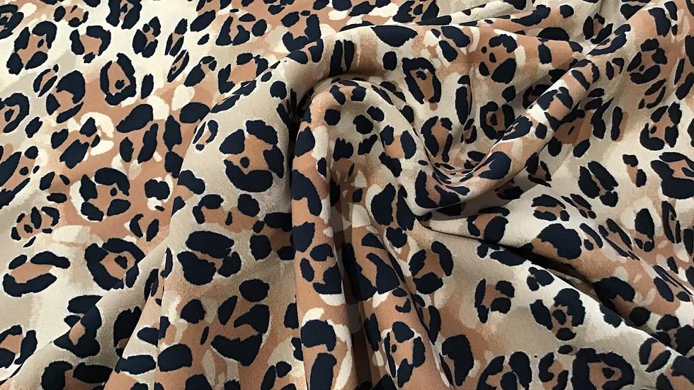 Remnant Leopard Print Crepe/250cm