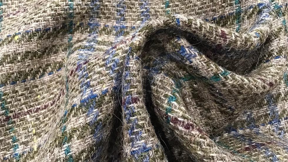 Remnant Plaid Taupe &  Blue Tweed Wool /90cm