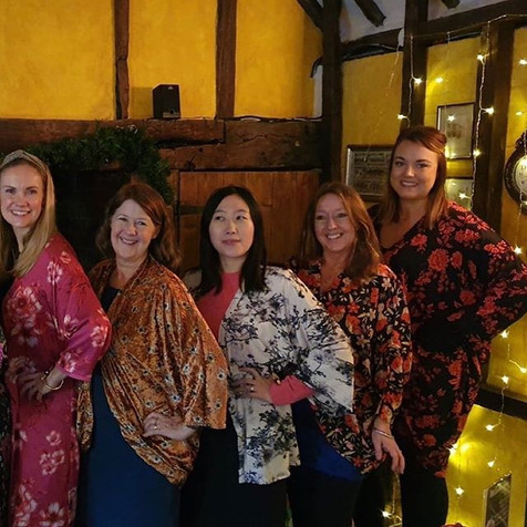 Here come the girls all in their kimono jackets made by Karen