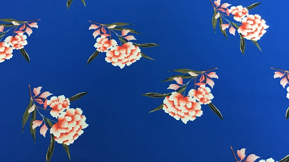 Deep Blue Chinoiserie Style Pink Floral