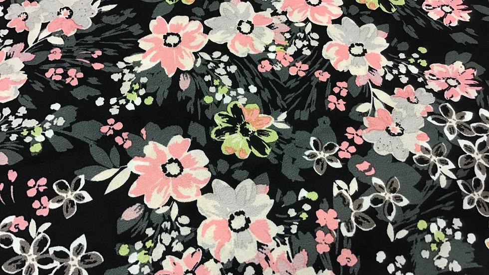 Remnant -  Sharon - Floral on Black /230cm