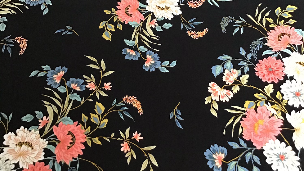 Chinoiserie Style Pink Blue Floral