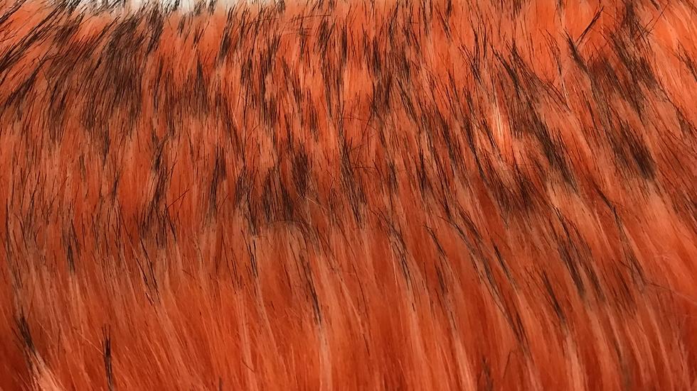 Vibrant Orange  with Black Tips Faux Fur Piece