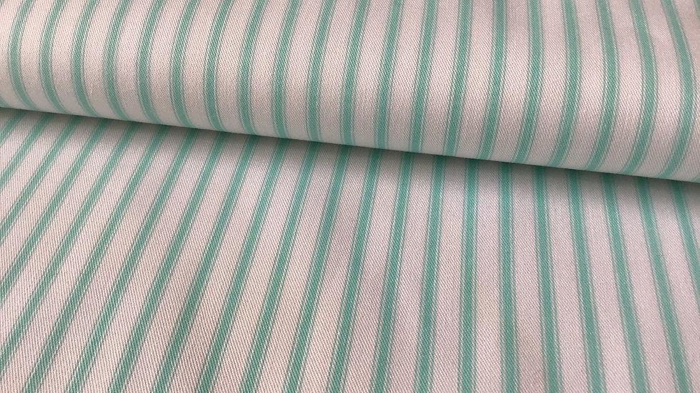 Aquamarine Striped Cotton Drill