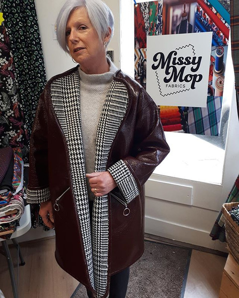 The amazing Donna G in her 60s style reversible coat