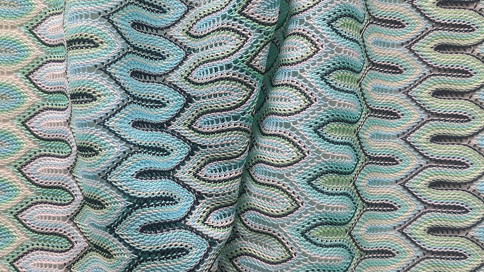 Remnant Zig Zag Sea Greens Stretch Knit /100cm