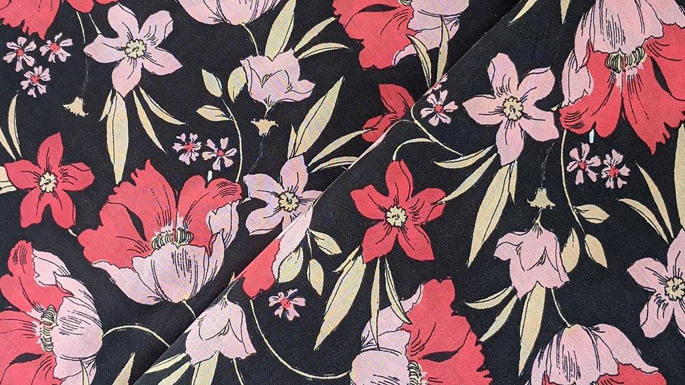 Poppy Print on Black