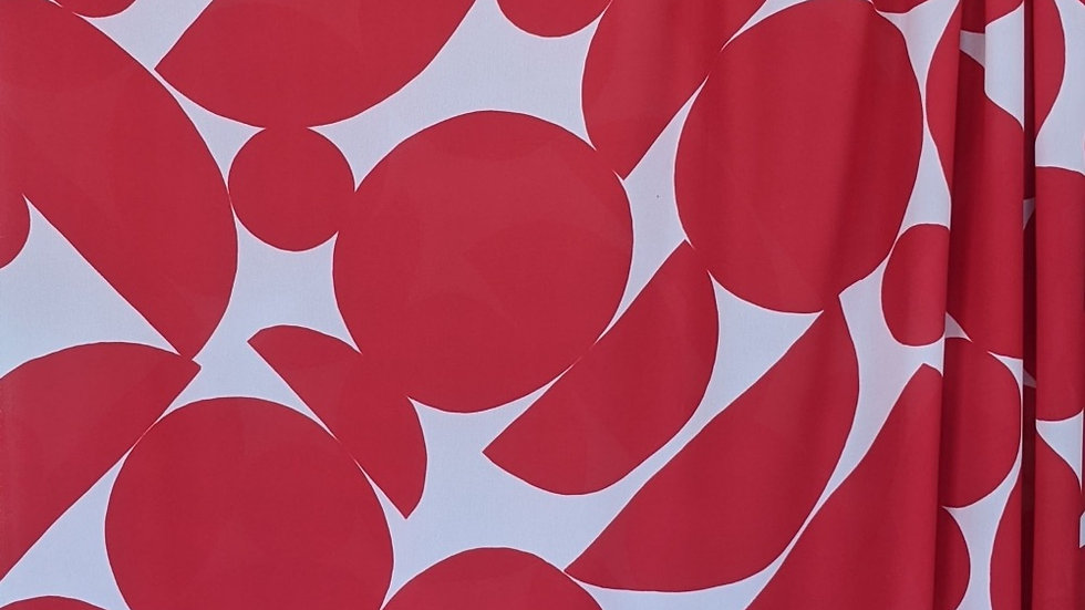 Jumbo Abstract Dots Red Crepe