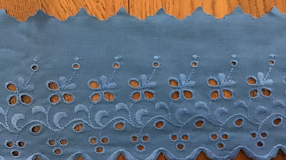 Wide  Broderie Anglaise Cotton Lace - Blue