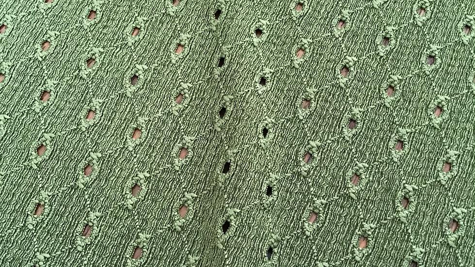 Moss Green Eyelet Jersey