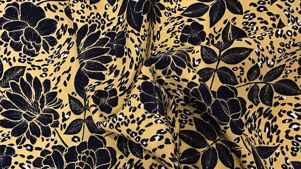 Karis - Black Floral on Mustard